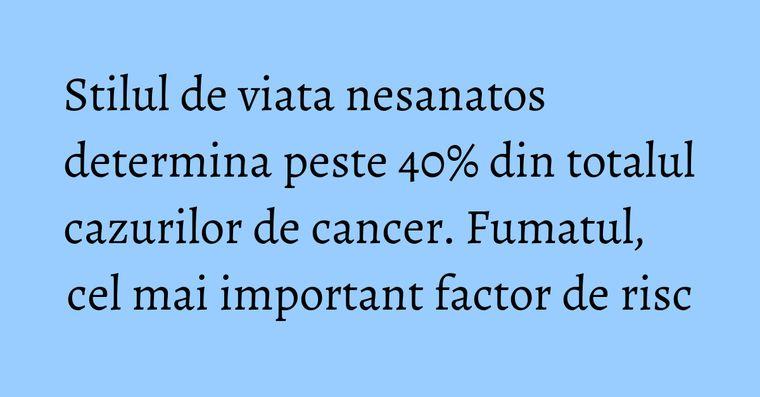 Stilul de viata nesanatos determina peste 40% din totalul cazurilor de cancer. Fumatul, cel mai important factor de risc