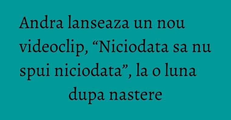 "Andra lanseaza un nou videoclip, ""Niciodata sa nu spui niciodata"", la o luna dupa nastere"