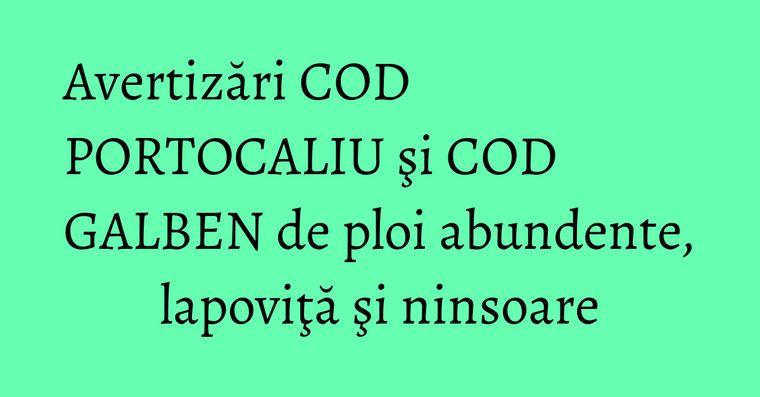 Avertizări COD PORTOCALIU şi COD GALBEN de ploi abundente, lapoviţă şi ninsoare