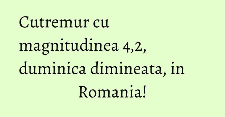 Cutremur cu magnitudinea 4,2, duminica dimineata, in Romania!