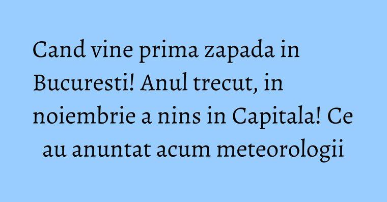 Cand vine prima zapada in Bucuresti! Anul trecut, in noiembrie a nins in Capitala! Ce au anuntat acum meteorologii