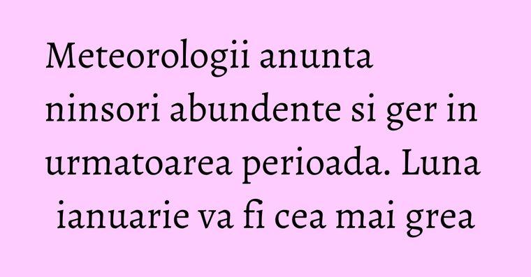 Meteorologii anunta ninsori abundente si ger in urmatoarea perioada. Luna ianuarie va fi cea mai grea