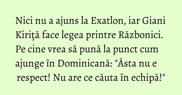 Nici nu a ajuns la Exatlon, iar Giani Kiriţă face legea printre Războnici. Pe cine vrea să pună la punct cum ajunge în Dominicană: