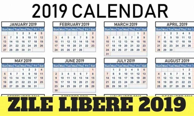 ZILE LIBERE 2019. Sărbători legale în 2019. Ce vacanțe vor avea românii