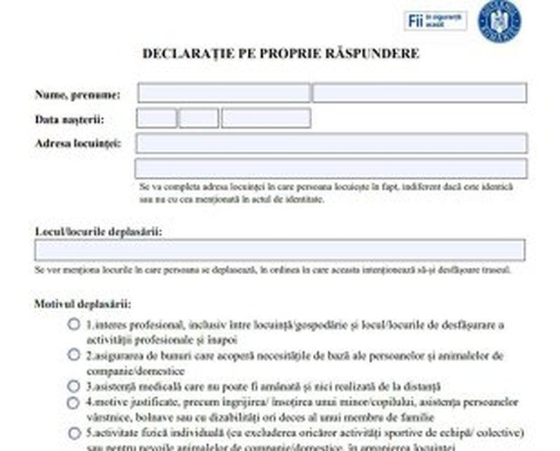 declarația pe proprie răspundere, cum arată, cum trebuie completat, documentul, declarație model