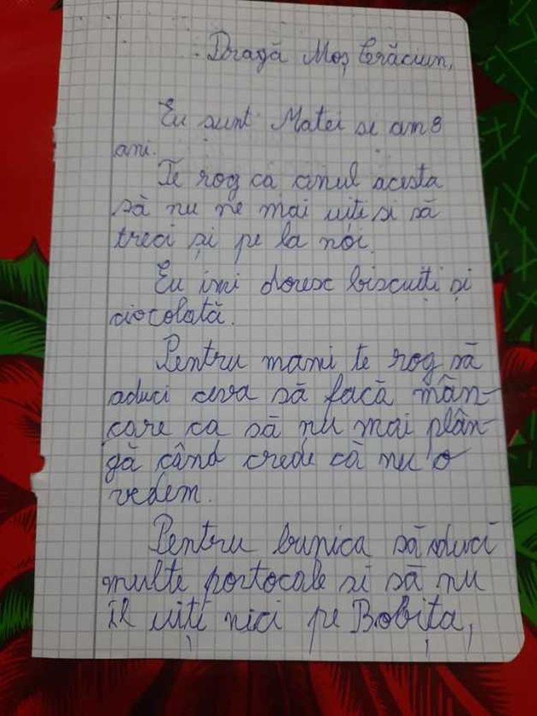 Scrisoarea lui Matei către Moș Crăciun