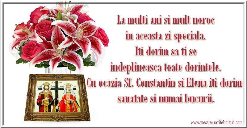 Mesaje, felicitări și urări de la mulți ani de Sfinții Constantin și Elena. FOTO
