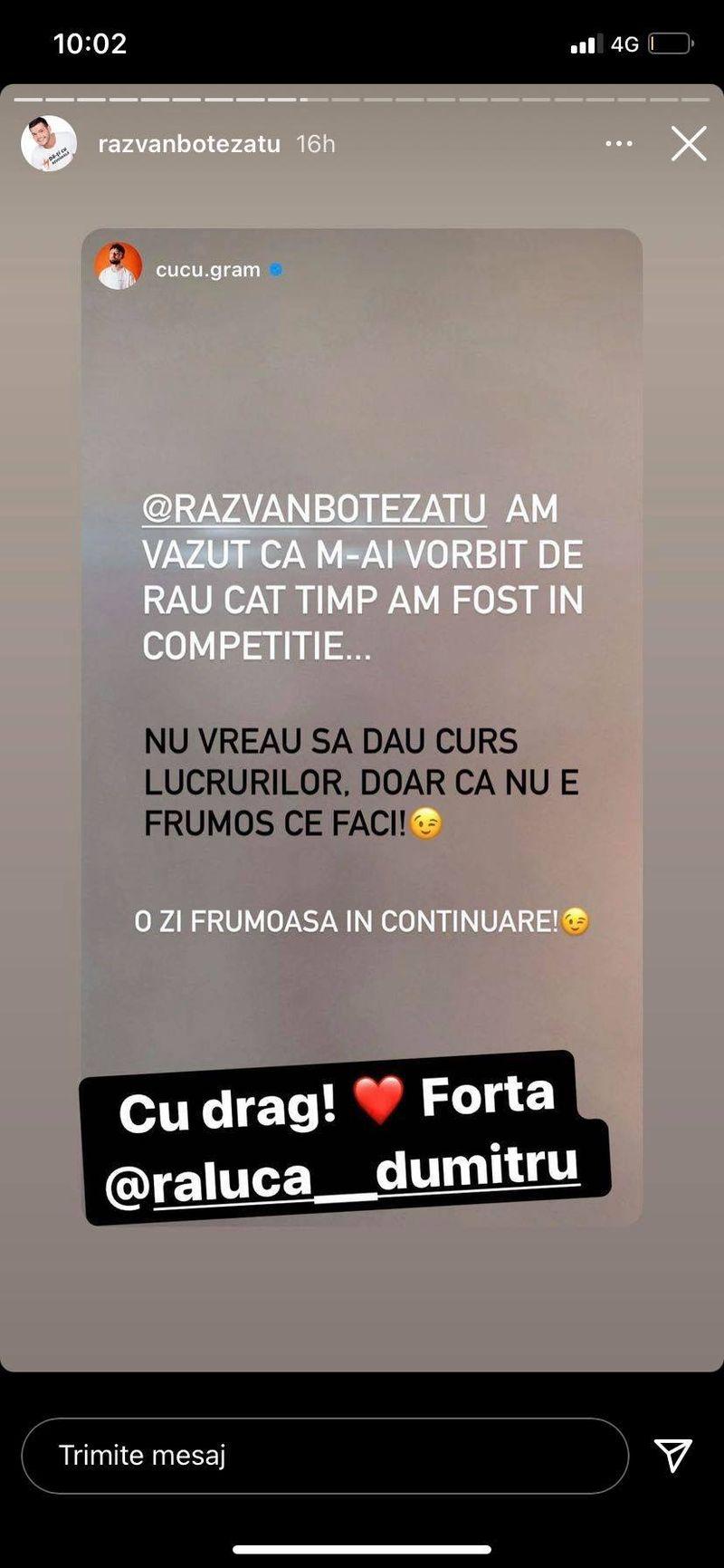 """Cucu de la Survivor România, replică acidă pentru Răzvan Botezatu: """"Am văzut că m-ai vorbit de rău"""""""