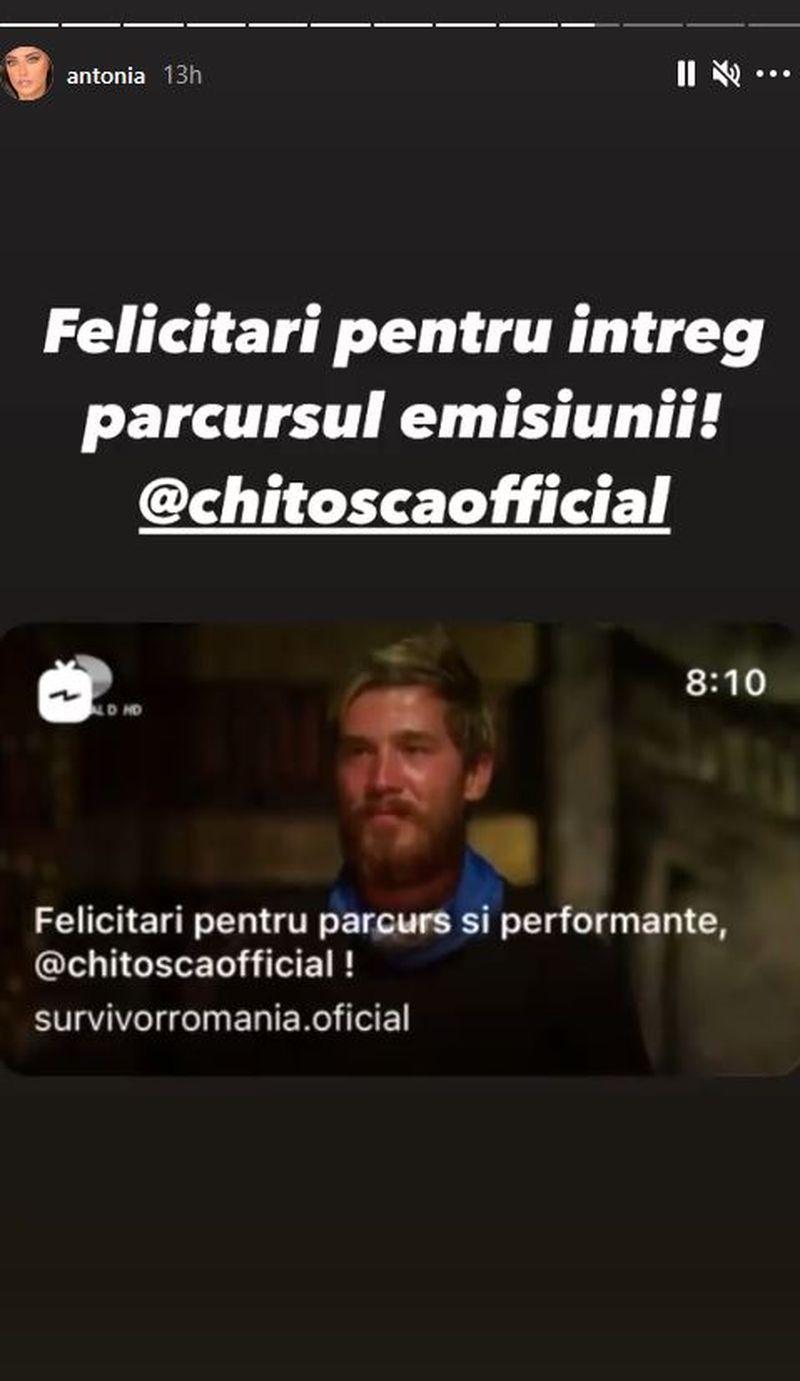 Antonia, mesaj pentru Sebastian Chitoșcă după eliminarea de la Survivor România