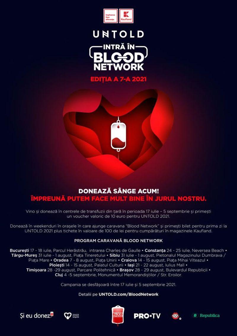 Bilete gratuite la UNTOLD pentru cei care donează sânge! Caravana Blood Network ajunge în 11 orașe