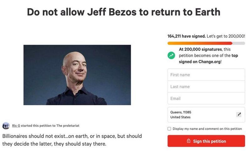 """Aproximativ 165.000 de persoane au semnat o petiţie pentru ca Jeff Bezos să rămână în spaţiu: """"Nu-i permiteți să se întoarcă pe Pământ"""""""